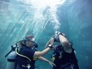 padi open water course in our pool